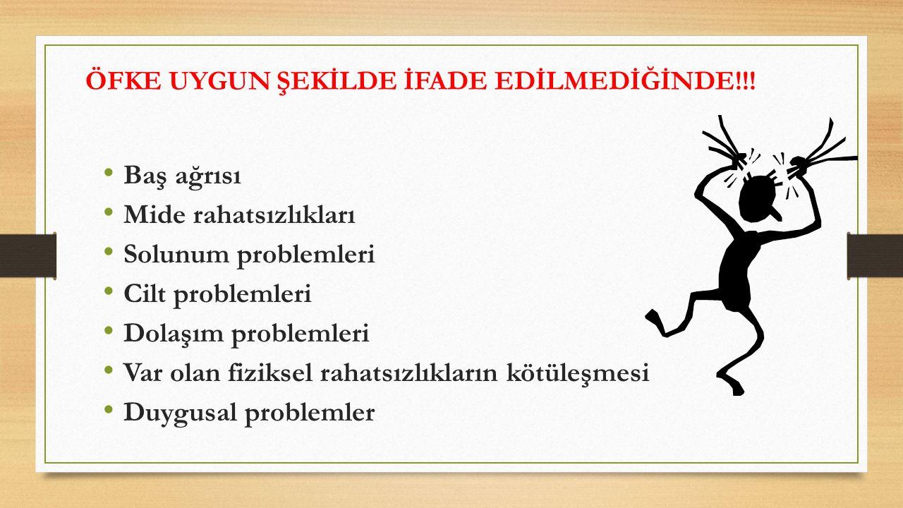 ÖFKE UYGUN ŞEKİLDE İFADE EDİLMEDİĞİNDE!!! Baş ağrısı Mide rahatsızlıkları Solunum problemleri Cilt problemleri Dolaşım problemleri Var olan fiziksel r