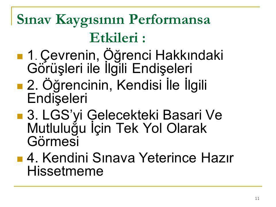 11 Sınav Kaygısının Performansa Etkileri : 1.