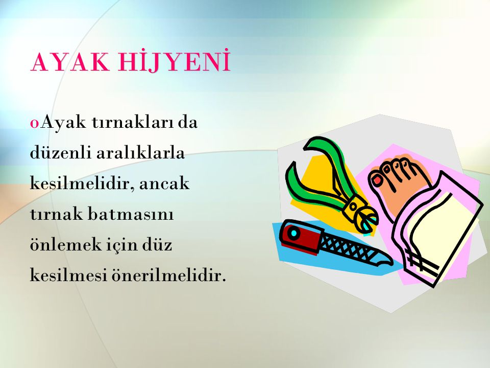 AYAK H İ JYEN İ oAyak tırnakları da düzenli aralıklarla kesilmelidir, ancak tırnak batmasını önlemek için düz kesilmesi önerilmelidir.
