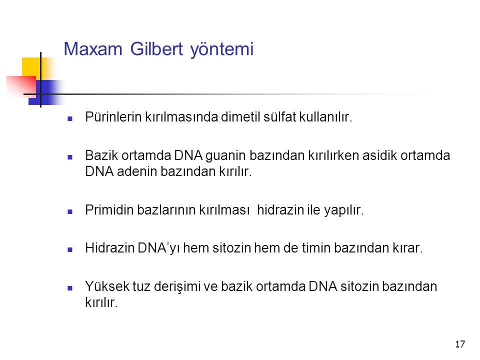 17 Maxam Gilbert yöntemi Pürinlerin kırılmasında dimetil sülfat kullanılır. Bazik ortamda DNA guanin bazından kırılırken asidik ortamda DNA adenin baz