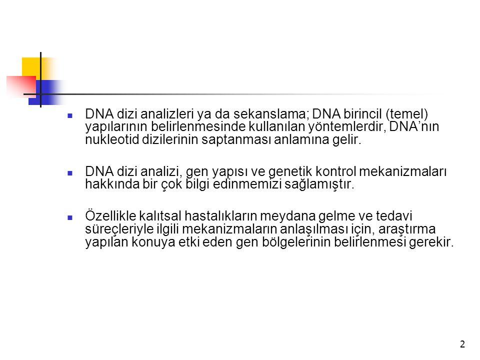 2 DNA dizi analizleri ya da sekanslama; DNA birincil (temel) yapılarının belirlenmesinde kullanılan yöntemlerdir, DNA'nın nukleotid dizilerinin saptan
