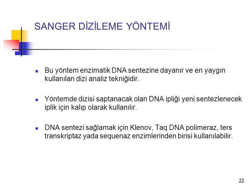 22 SANGER DİZİLEME YÖNTEMİ Bu yöntem enzimatik DNA sentezine dayanır ve en yaygın kullanılan dizi analiz tekniğidir. Yöntemde dizisi saptanacak olan D