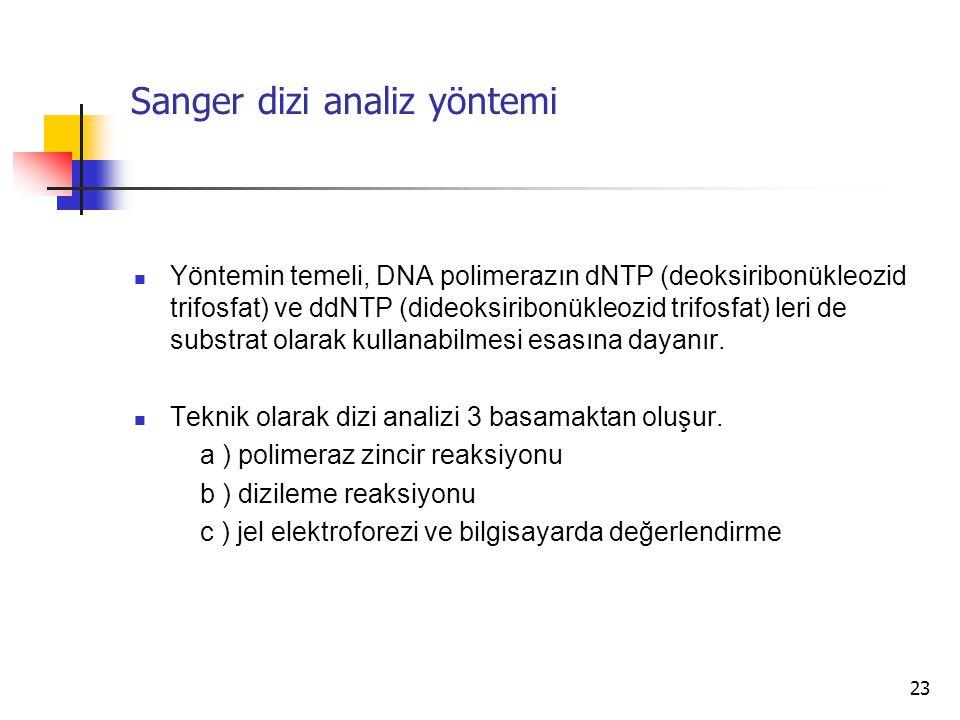 23 Sanger dizi analiz yöntemi Yöntemin temeli, DNA polimerazın dNTP (deoksiribonükleozid trifosfat) ve ddNTP (dideoksiribonükleozid trifosfat) leri de