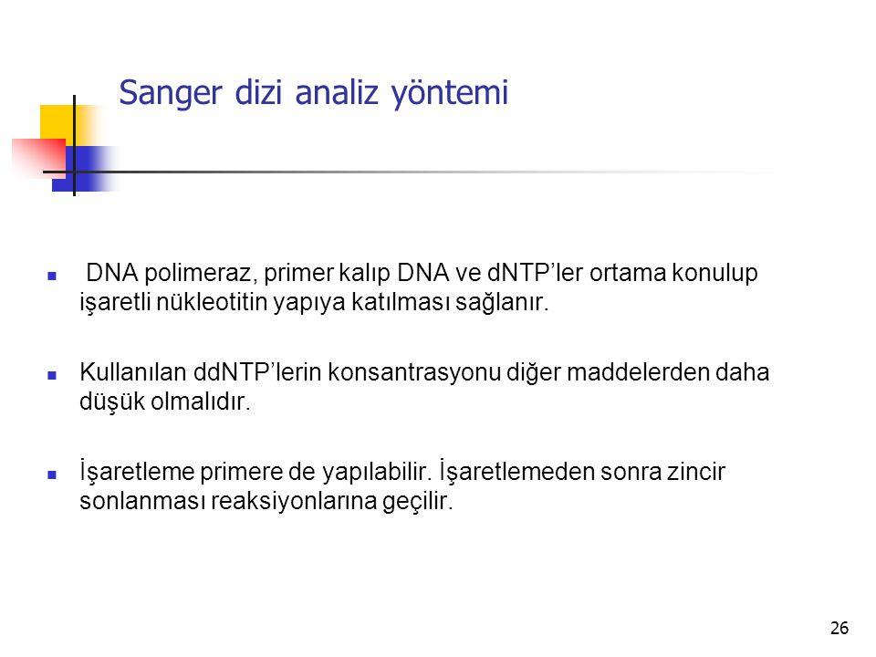 26 Sanger dizi analiz yöntemi DNA polimeraz, primer kalıp DNA ve dNTP'ler ortama konulup işaretli nükleotitin yapıya katılması sağlanır. Kullanılan dd