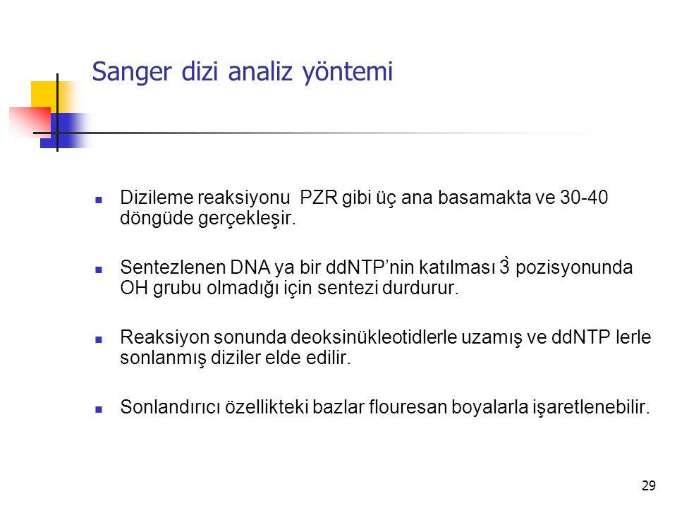 29 Sanger dizi analiz yöntemi Dizileme reaksiyonu PZR gibi üç ana basamakta ve 30-40 döngüde gerçekleşir. Sentezlenen DNA ya bir ddNTP'nin katılması 3