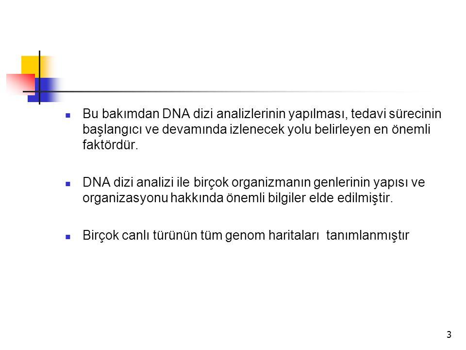 3 Bu bakımdan DNA dizi analizlerinin yapılması, tedavi sürecinin başlangıcı ve devamında izlenecek yolu belirleyen en önemli faktördür. DNA dizi anali