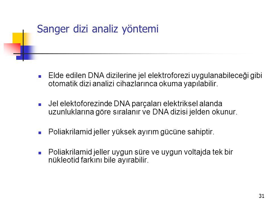 31 Sanger dizi analiz yöntemi Elde edilen DNA dizilerine jel elektroforezi uygulanabileceği gibi otomatik dizi analizi cihazlarınca okuma yapılabilir.