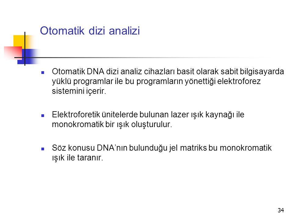 34 Otomatik dizi analizi Otomatik DNA dizi analiz cihazları basit olarak sabit bilgisayarda yüklü programlar ile bu programların yönettiği elektrofore