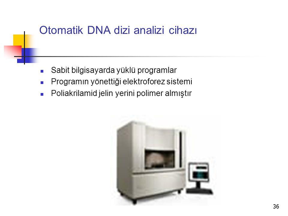 36 Otomatik DNA dizi analizi cihazı Sabit bilgisayarda yüklü programlar Programın yönettiği elektroforez sistemi Poliakrilamid jelin yerini polimer al