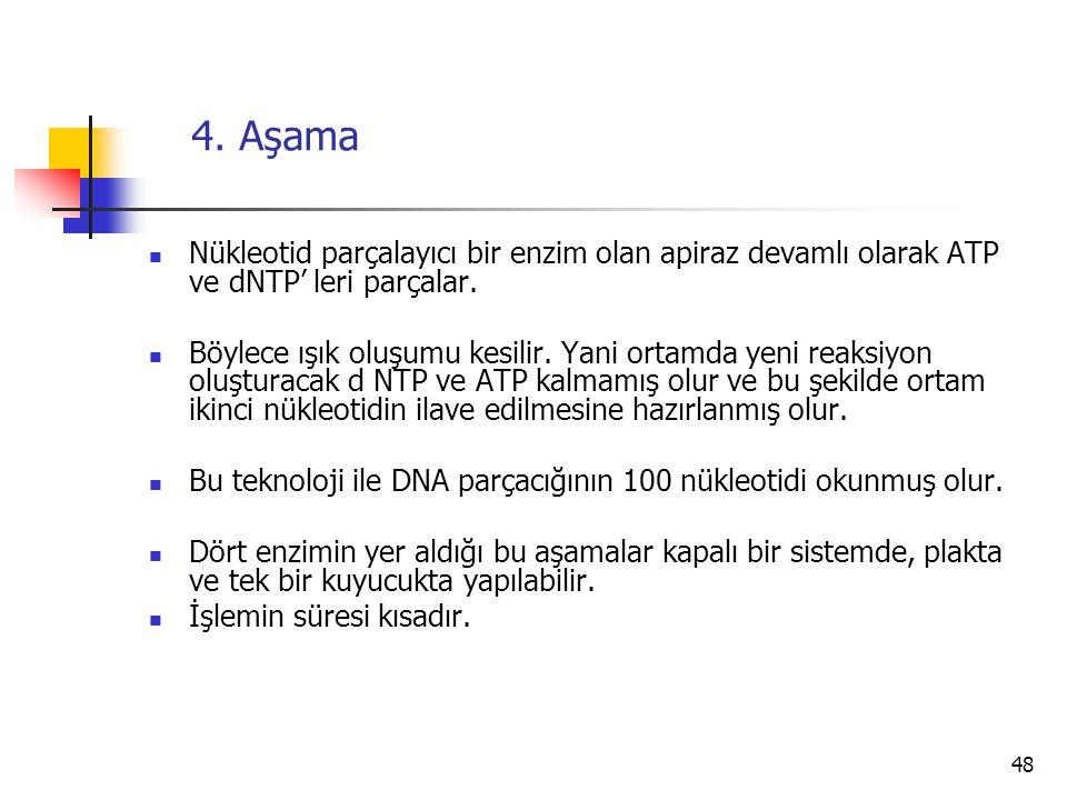 48 4. Aşama Nükleotid parçalayıcı bir enzim olan apiraz devamlı olarak ATP ve dNTP' leri parçalar. Böylece ışık oluşumu kesilir. Yani ortamda yeni rea
