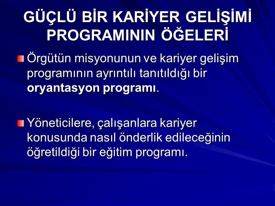 GÜÇLÜ BİR KARİYER GELİŞİMİ PROGRAMININ ÖĞELERİ Örgütün misyonunun ve kariyer gelişim programının ayrıntılı tanıtıldığı bir oryantasyon programı.