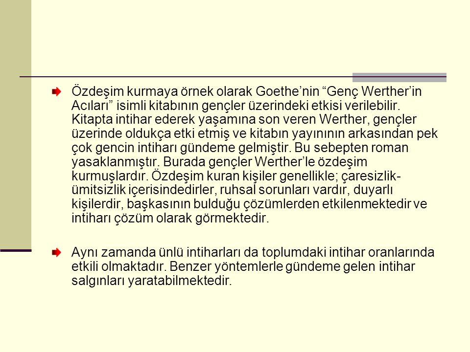 Özdeşim kurmaya örnek olarak Goethe'nin Genç Werther'in Acıları isimli kitabının gençler üzerindeki etkisi verilebilir.