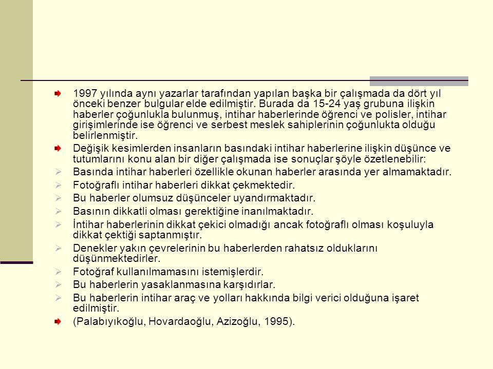1997 yılında aynı yazarlar tarafından yapılan başka bir çalışmada da dört yıl önceki benzer bulgular elde edilmiştir.