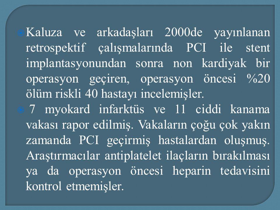  Kaluza ve arkadaşları 2000de yayınlanan retrospektif çalışmalarında PCI ile stent implantasyonundan sonra non kardiyak bir operasyon geçiren, operas