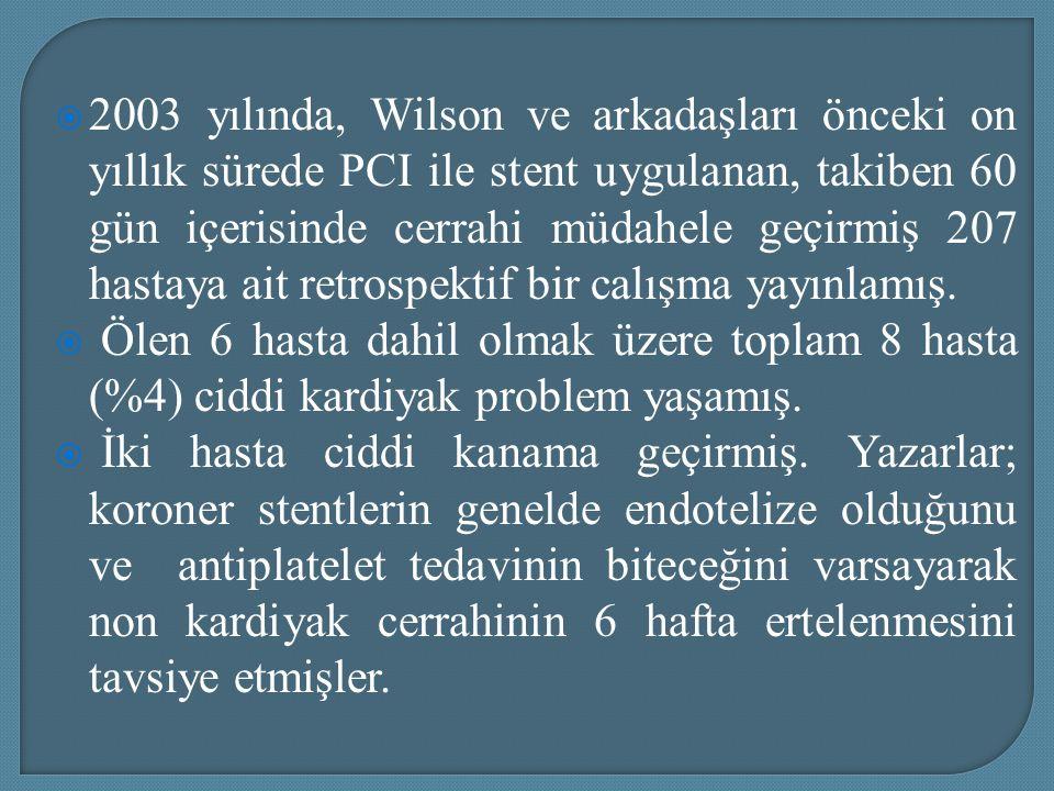  2003 yılında, Wilson ve arkadaşları önceki on yıllık sürede PCI ile stent uygulanan, takiben 60 gün içerisinde cerrahi müdahele geçirmiş 207 hastaya