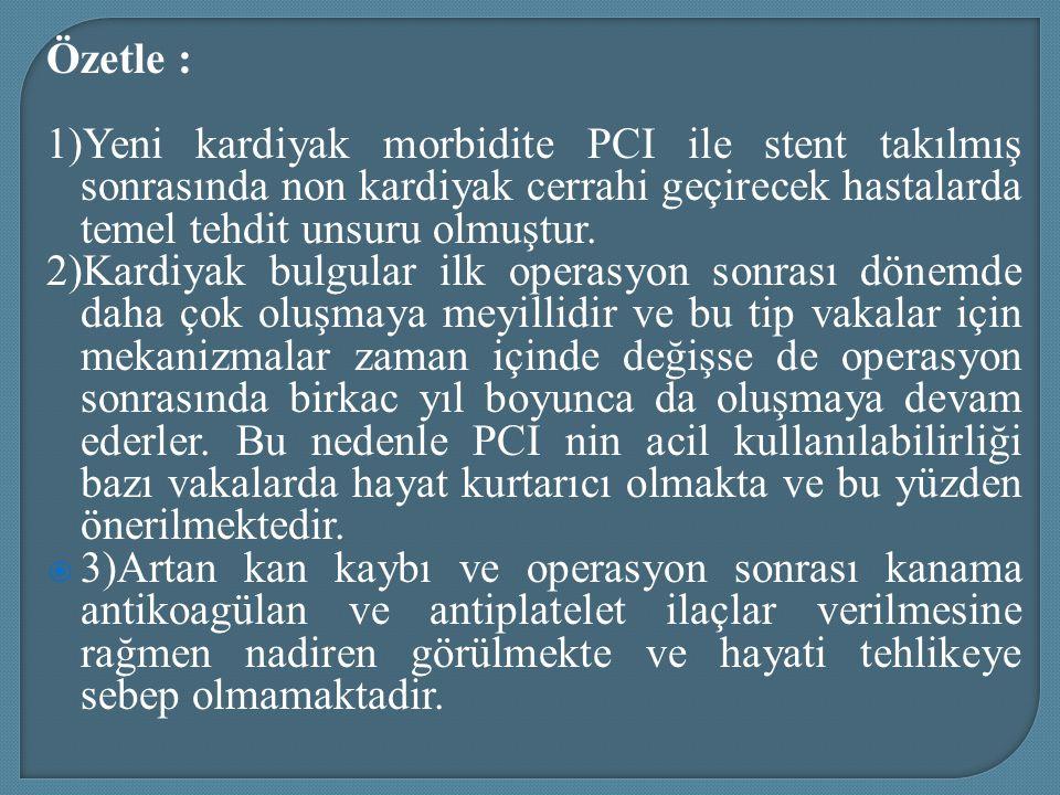 Özetle : 1)Yeni kardiyak morbidite PCI ile stent takılmış sonrasında non kardiyak cerrahi geçirecek hastalarda temel tehdit unsuru olmuştur. 2)Kardiya
