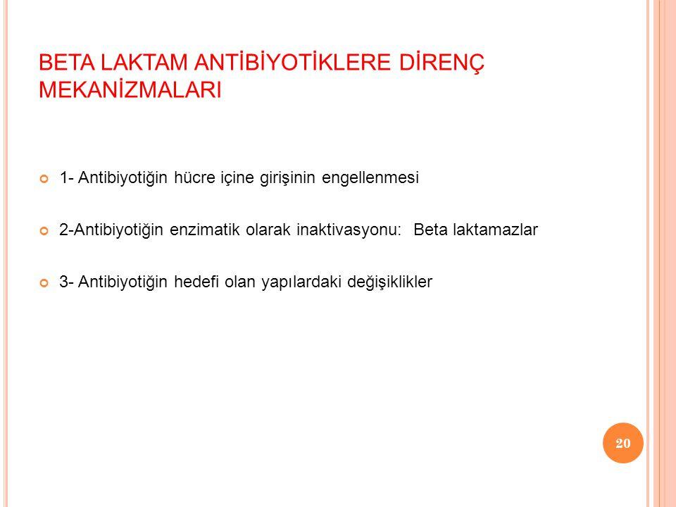 BETA LAKTAM ANTİBİYOTİKLERE DİRENÇ MEKANİZMALARI 1- Antibiyotiğin hücre içine girişinin engellenmesi 2-Antibiyotiğin enzimatik olarak inaktivasyonu: B