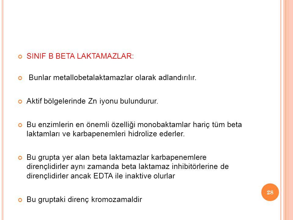 SINIF B BETA LAKTAMAZLAR: Bunlar metallobetalaktamazlar olarak adlandırılır.