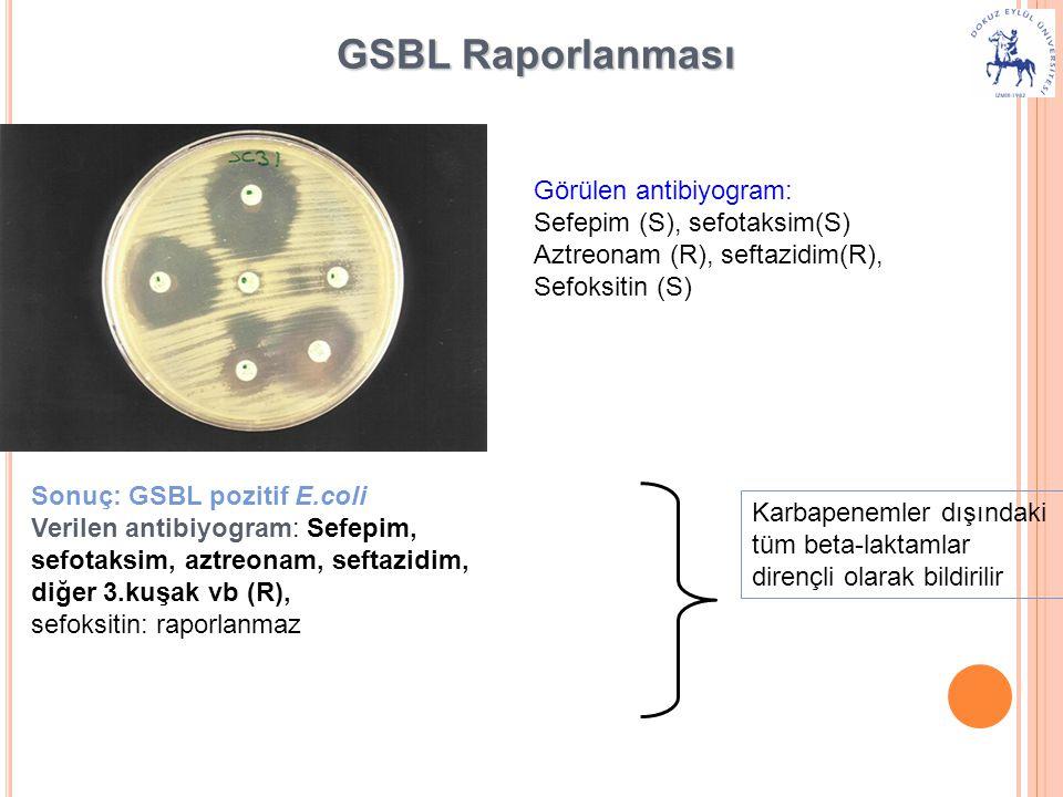 GSBL Raporlanması Görülen antibiyogram: Sefepim (S), sefotaksim(S) Aztreonam (R), seftazidim(R), Sefoksitin (S) Sonuç: GSBL pozitif E.coli Verilen antibiyogram: Sefepim, sefotaksim, aztreonam, seftazidim, diğer 3.kuşak vb (R), sefoksitin: raporlanmaz Karbapenemler dışındaki tüm beta-laktamlar dirençli olarak bildirilir