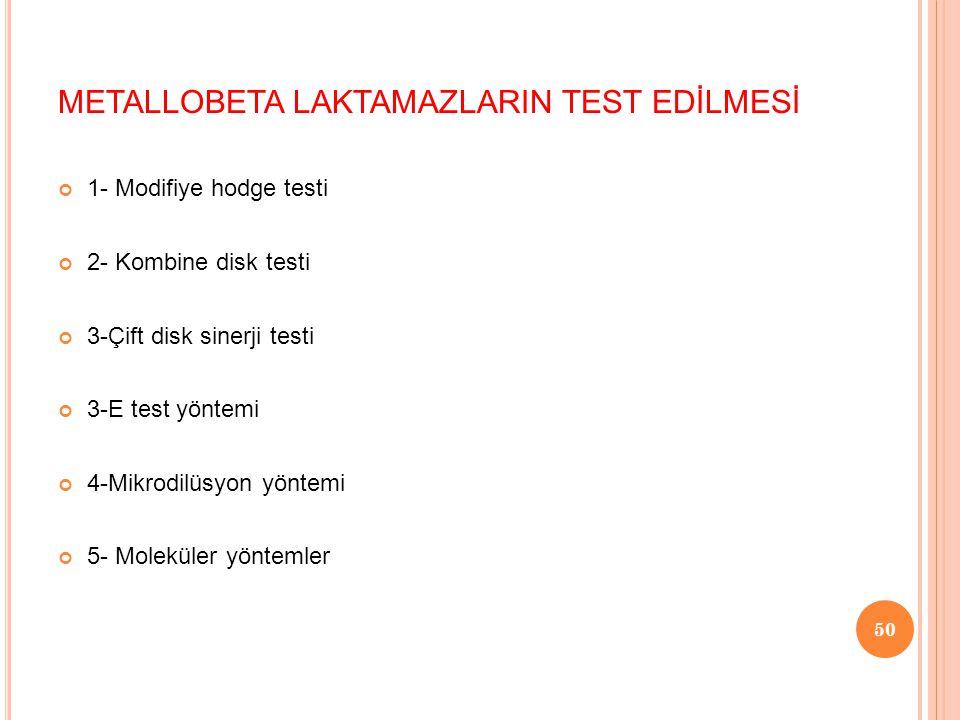 METALLOBETA LAKTAMAZLARIN TEST EDİLMESİ 1- Modifiye hodge testi 2- Kombine disk testi 3-Çift disk sinerji testi 3-E test yöntemi 4-Mikrodilüsyon yöntemi 5- Moleküler yöntemler 50
