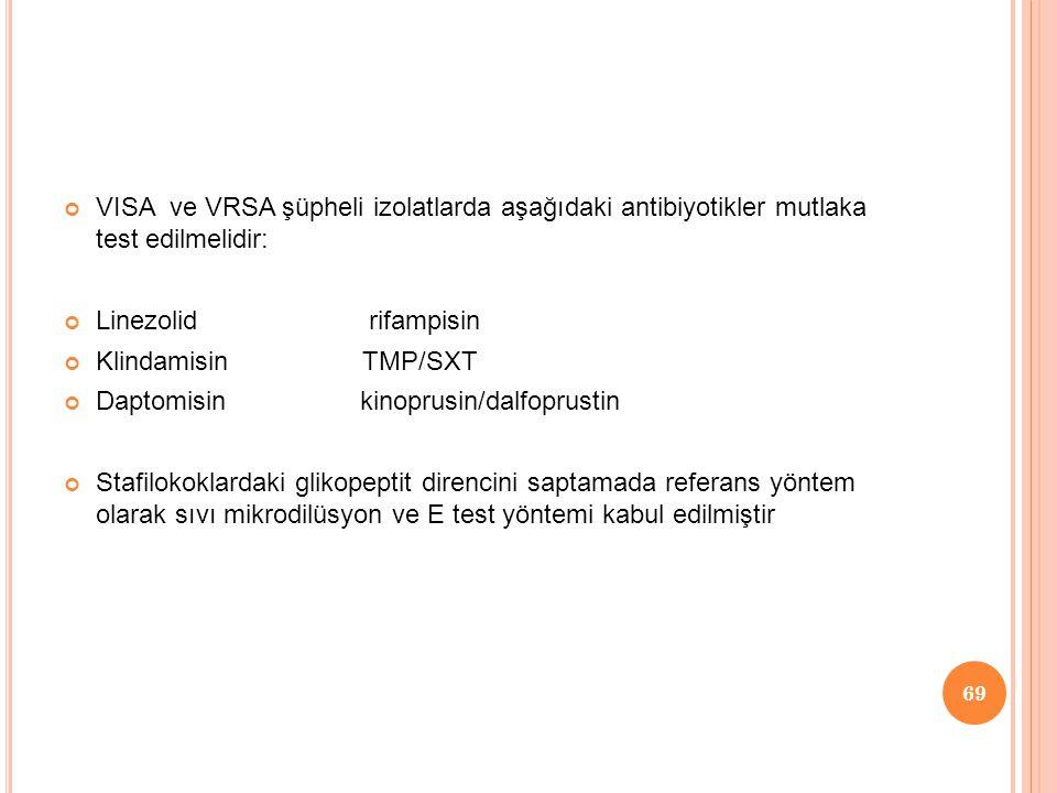 VISA ve VRSA şüpheli izolatlarda aşağıdaki antibiyotikler mutlaka test edilmelidir: Linezolid rifampisin Klindamisin TMP/SXT Daptomisin kinoprusin/dalfoprustin Stafilokoklardaki glikopeptit direncini saptamada referans yöntem olarak sıvı mikrodilüsyon ve E test yöntemi kabul edilmiştir 69