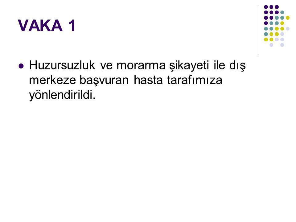 VAKA 1 G1P1Y1 23 yaşındaki sağlıklı anneden normal yolla 40 GH da APGAR 9/10 ile doğmuş.