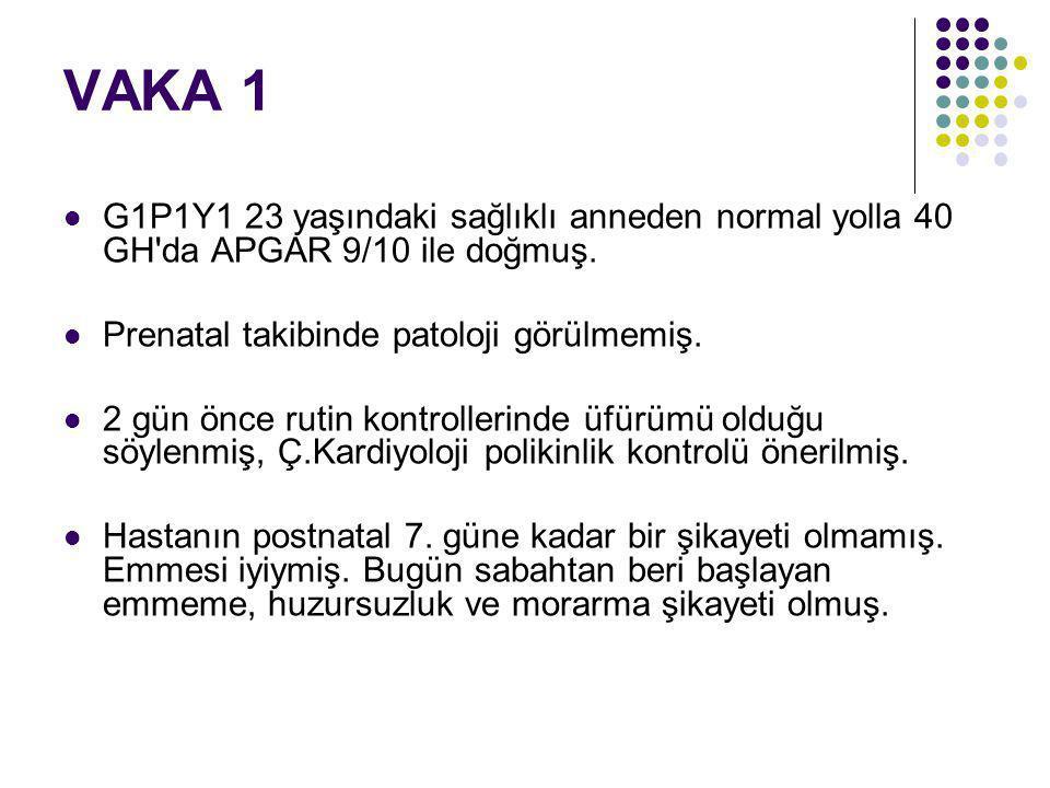 VAKA 1 Fizik Muayene Genel durumu kötü Turgor, tonus azalmış.