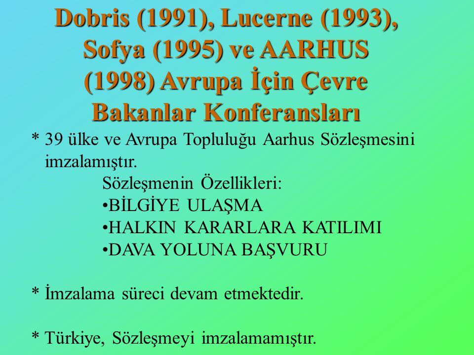 Dobris (1991), Lucerne (1993), Sofya (1995) ve AARHUS (1998) Avrupa İçin Çevre Bakanlar Konferansları * 39 ülke ve Avrupa Topluluğu Aarhus Sözleşmesini imzalamıştır.