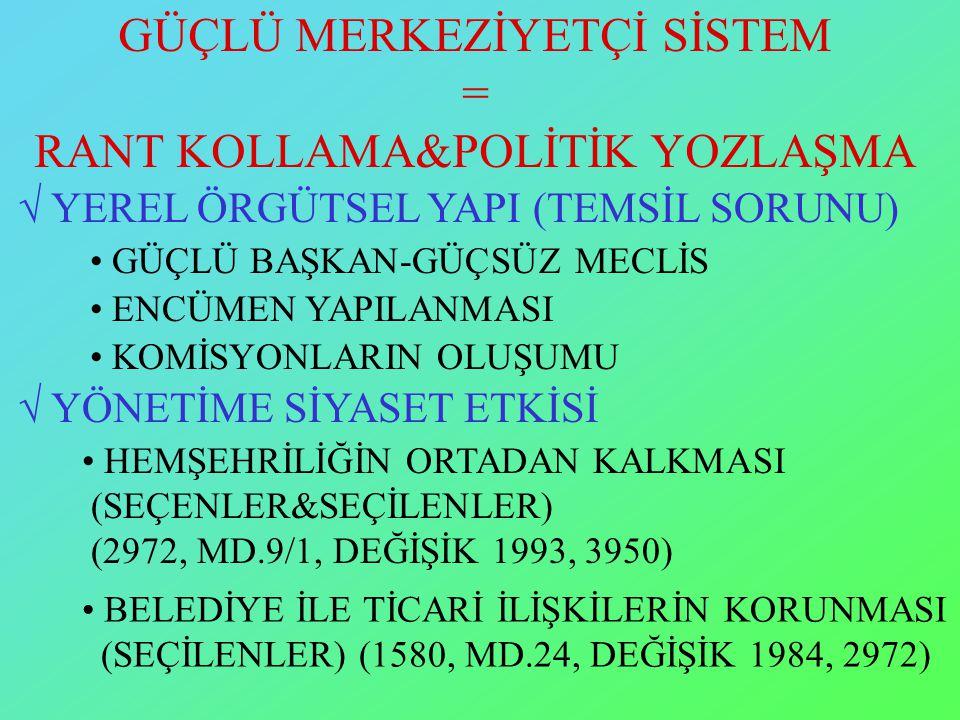 GÜÇLÜ MERKEZİYETÇİ SİSTEM = RANT KOLLAMA&POLİTİK YOZLAŞMA  YEREL ÖRGÜTSEL YAPI (TEMSİL SORUNU)  YÖNETİME SİYASET ETKİSİ HEMŞEHRİLİĞİN ORTADAN KALKMASI (SEÇENLER&SEÇİLENLER) (2972, MD.9/1, DEĞİŞİK 1993, 3950) BELEDİYE İLE TİCARİ İLİŞKİLERİN KORUNMASI (SEÇİLENLER) (1580, MD.24, DEĞİŞİK 1984, 2972) GÜÇLÜ BAŞKAN-GÜÇSÜZ MECLİS ENCÜMEN YAPILANMASI KOMİSYONLARIN OLUŞUMU