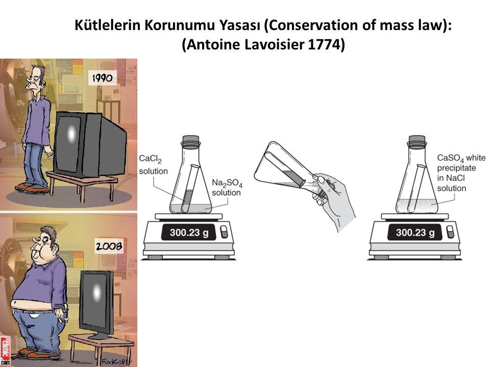 Kütlelerin Korunumu Yasası (Conservation of mass law): (Antoine Lavoisier 1774)
