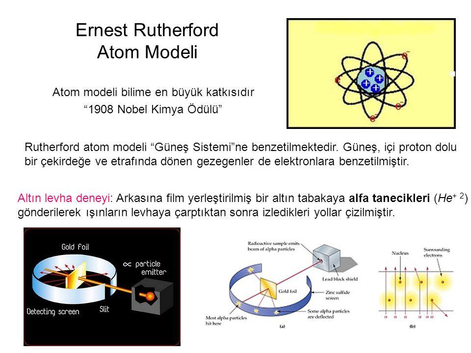Ernest Rutherford Atom Modeli Atom modeli bilime en büyük katkısıdır 1908 Nobel Kimya Ödülü Rutherford atom modeli Güneş Sistemi ne benzetilmektedir.