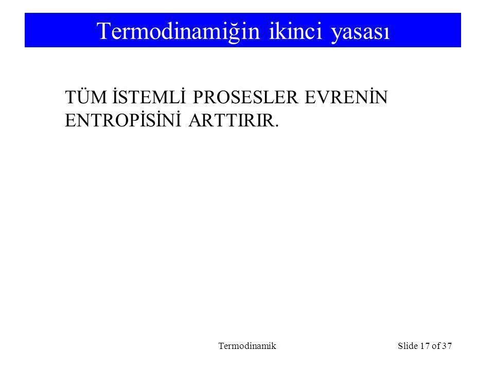 TermodinamikSlide 17 of 37 Termodinamiğin ikinci yasası TÜM İSTEMLİ PROSESLER EVRENİN ENTROPİSİNİ ARTTIRIR.