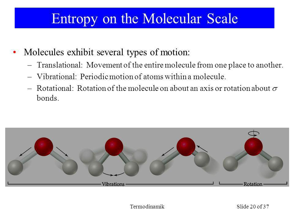 TermodinamikSlide 20 of 37 Entropy on the Molecular Scale Molecules exhibit several types of motion: –Translational: Movement of the entire molecule from one place to another.