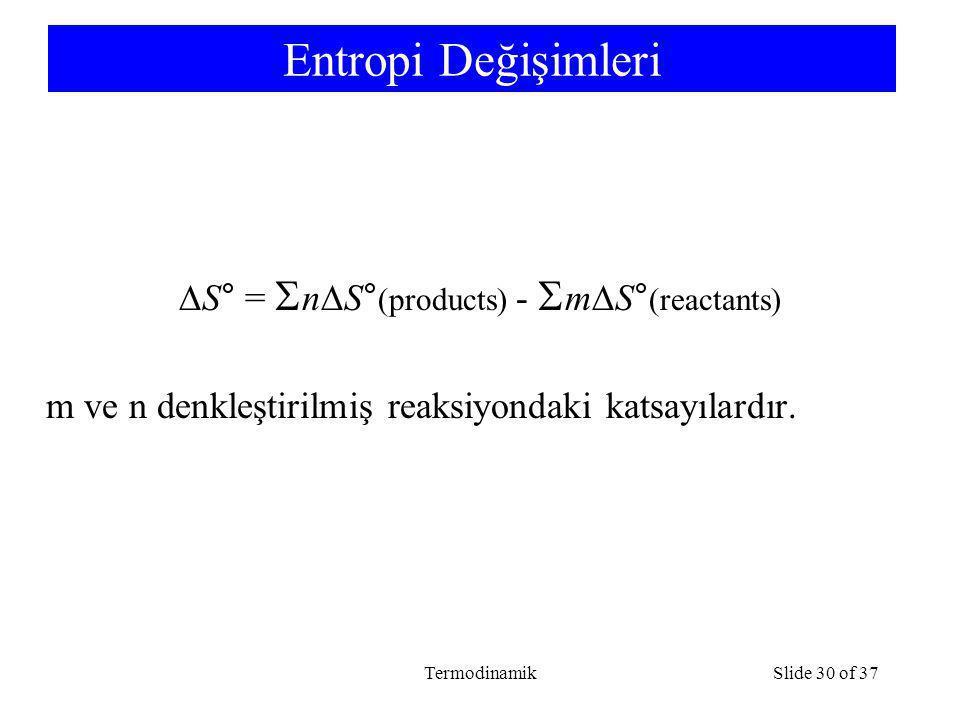 TermodinamikSlide 30 of 37 Entropi Değişimleri  S° =  n  S° (products) -  m  S° (reactants) m ve n denkleştirilmiş reaksiyondaki katsayılardır.