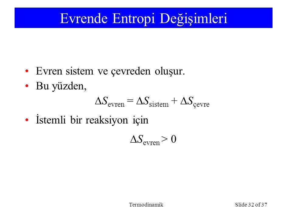 TermodinamikSlide 32 of 37 Evrende Entropi Değişimleri Evren sistem ve çevreden oluşur. Bu yüzden,  S evren =  S sistem +  S çevre İstemli bir reak