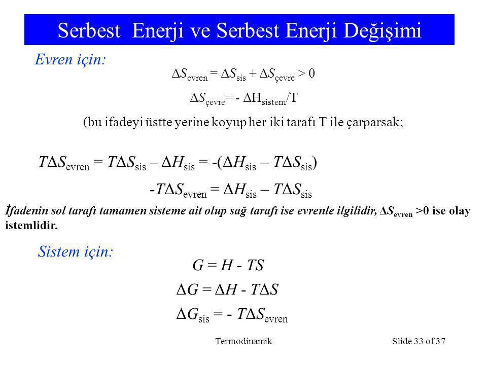 TermodinamikSlide 33 of 37 Serbest Enerji ve Serbest Enerji Değişimi TΔS evren = TΔS sis – ΔH sis = -(ΔH sis – TΔS sis ) -TΔS evren = ΔH sis – TΔS sis G = H - TS ΔG = ΔH - TΔS Evren için: Sistem için: ΔG sis = - TΔS evren ΔS evren = ΔS sis + ΔS çevre > 0 ΔS çevre = - ΔH sistem /T (bu ifadeyi üstte yerine koyup her iki tarafı T ile çarparsak; İfadenin sol tarafı tamamen sisteme ait olup sağ tarafı ise evrenle ilgilidir, ΔS evren >0 ise olay istemlidir.