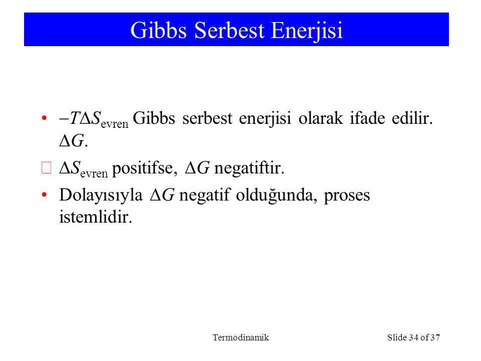 TermodinamikSlide 34 of 37 Gibbs Serbest Enerjisi  T  S evren Gibbs serbest enerjisi olarak ifade edilir.  G.  S evren positifse,  G negatiftir.
