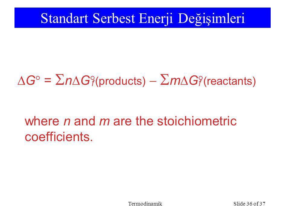 TermodinamikSlide 36 of 37 Standart Serbest Enerji Değişimleri  G  =  n  G  (products)   m  G  (reactants) ff where n and m are the stoichiometric coefficients.