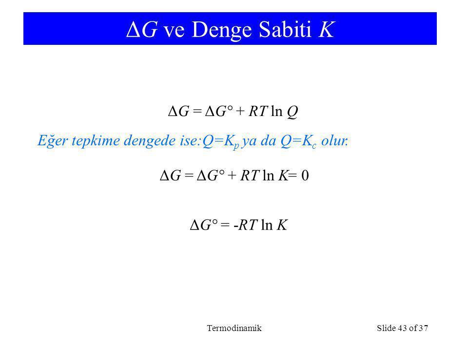 TermodinamikSlide 43 of 37 ΔG ve Denge Sabiti K ΔG = ΔG° + RT ln Q ΔG = ΔG° + RT ln K= 0 Eğer tepkime dengede ise:Q=K p ya da Q=K c olur. ΔG° = -RT ln