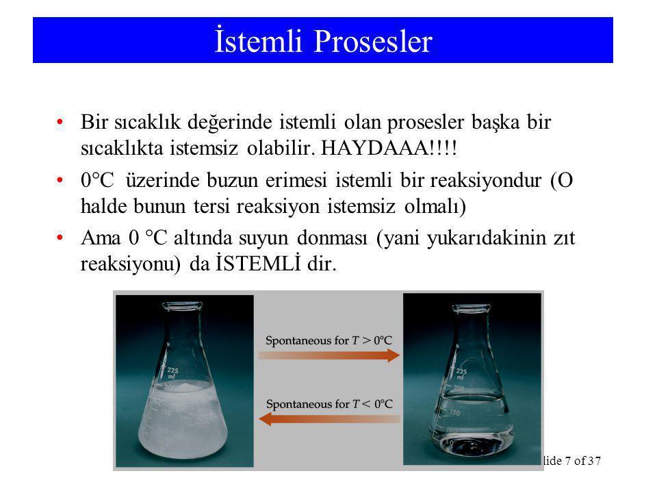 TermodinamikSlide 7 of 37 İstemli Prosesler Bir sıcaklık değerinde istemli olan prosesler başka bir sıcaklıkta istemsiz olabilir.