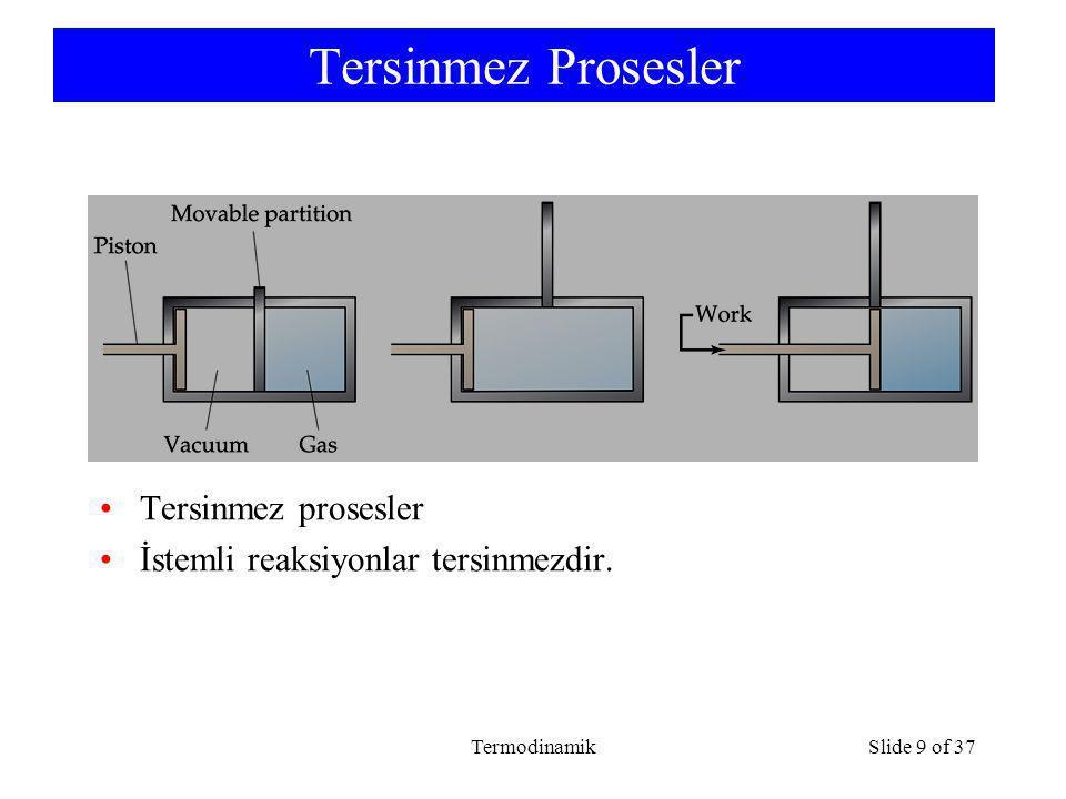 TermodinamikSlide 9 of 37 Tersinmez Prosesler Tersinmez prosesler İstemli reaksiyonlar tersinmezdir.