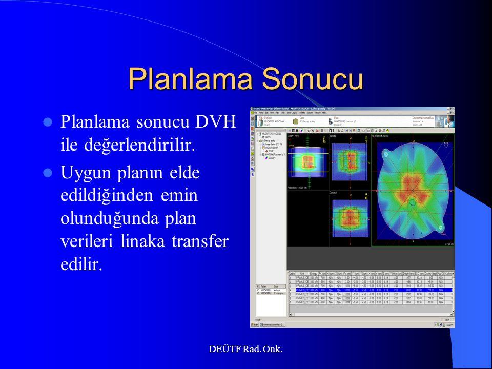 DEÜTF Rad. Onk. Planlama Sonucu Planlama sonucu DVH ile değerlendirilir. Uygun planın elde edildiğinden emin olunduğunda plan verileri linaka transfer