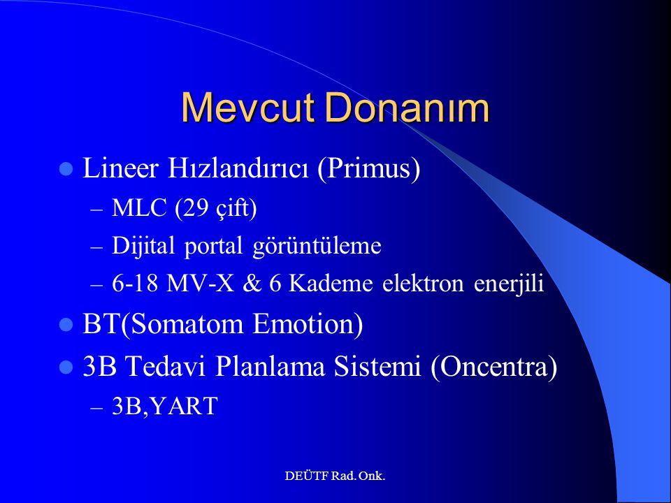 DEÜTF Rad. Onk. Mevcut Donanım Lineer Hızlandırıcı (Primus) – MLC (29 çift) – Dijital portal görüntüleme – 6-18 MV-X & 6 Kademe elektron enerjili BT(S