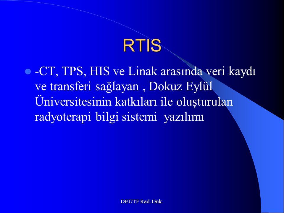 DEÜTF Rad. Onk. RTIS -CT, TPS, HIS ve Linak arasında veri kaydı ve transferi sağlayan, Dokuz Eylül Üniversitesinin katkıları ile oluşturulan radyotera