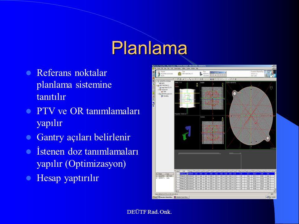 DEÜTF Rad. Onk. Planlama Referans noktalar planlama sistemine tanıtılır PTV ve OR tanımlamaları yapılır Gantry açıları belirlenir İstenen doz tanımlam