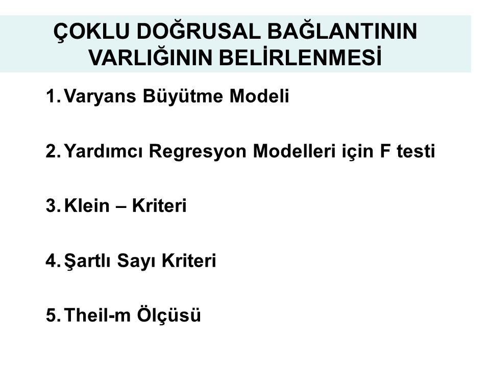 19 1.Varyans Büyütme Modeli 2.Yardımcı Regresyon Modelleri için F testi 3.Klein – Kriteri 4.Şartlı Sayı Kriteri 5.Theil-m Ölçüsü ÇOKLU DOĞRUSAL BAĞLANTININ VARLIĞININ BELİRLENMESİ