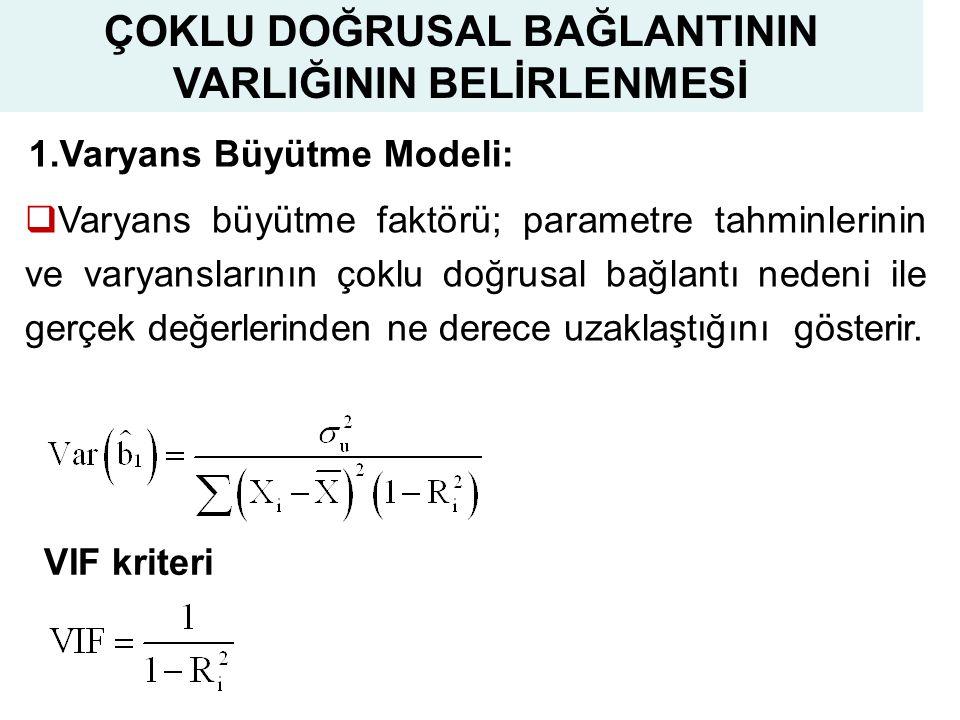 20 1.Varyans Büyütme Modeli:  Varyans büyütme faktörü; parametre tahminlerinin ve varyanslarının çoklu doğrusal bağlantı nedeni ile gerçek değerlerinden ne derece uzaklaştığını gösterir.