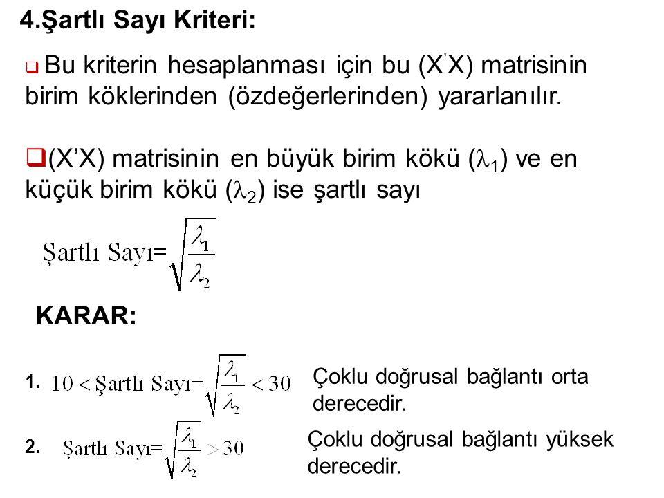 32 4.Şartlı Sayı Kriteri:  Bu kriterin hesaplanması için bu (X ' X) matrisinin birim köklerinden (özdeğerlerinden) yararlanılır.