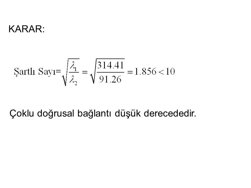 34  Ortalamadan farklar ile bağımsız değişkenler katsayı matrisi;