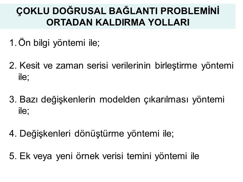 40 ÇOKLU DOĞRUSAL BAĞLANTI PROBLEMİNİ ORTADAN KALDIRMA YOLLARI 1.Ön bilgi yöntemi ile; 2.
